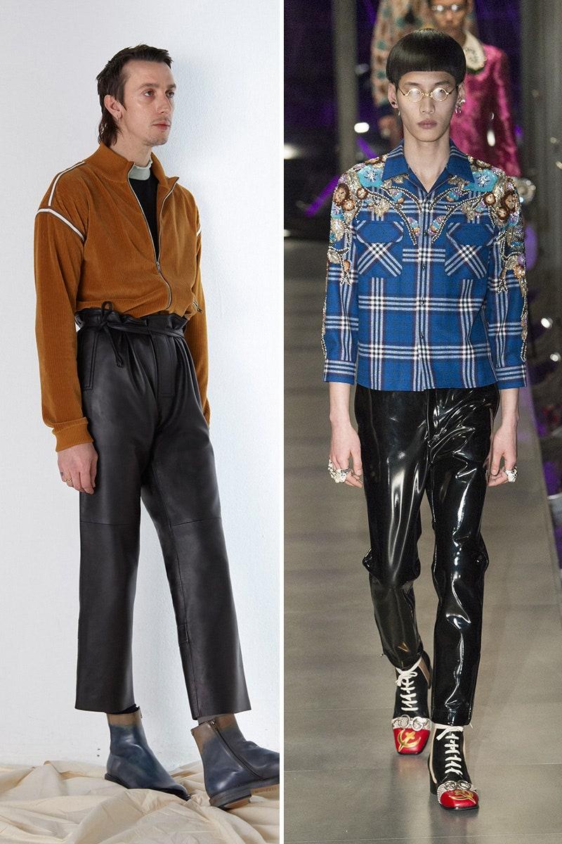 Combinez un pantalon en cuir avec du velours