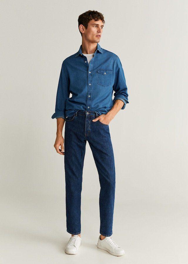 Jean avec chemise bleue pour homme