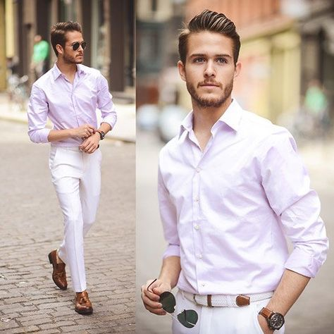 Homme en chemise rose